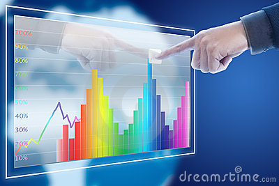 Businessman point finger to stock graph