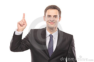 A businessman pointing