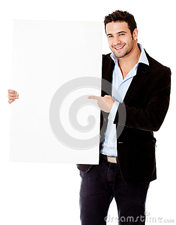 Businessman pointing at a banner