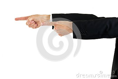 Businessman pointing with both