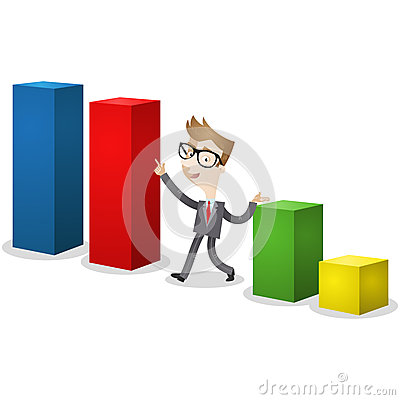 Businessman pointing at colorful bar chart