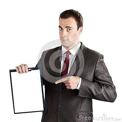Businessman pointing finger at blank clipboard