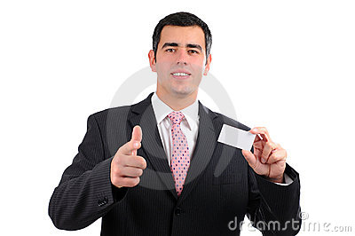 Businessman pointing forward with a business card
