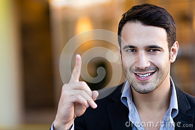 Businessman pointing an idea
