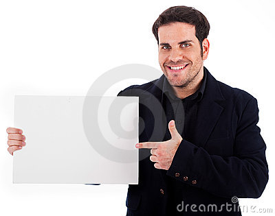 Businessman pointing at the plain board