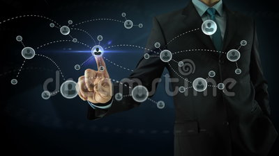 Businessman pointing on social network media. Concept with abstract users, sms, messages, blue dark background and animated links