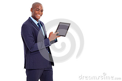 Businessman pointing tablet