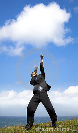 Businessman   pointing to the cloud