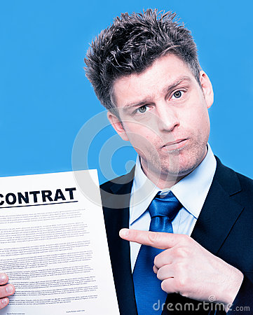 Businessman pointing to a contract