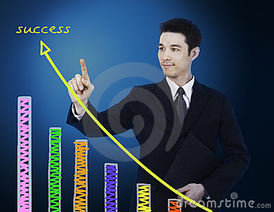 Businessman pointing to graph