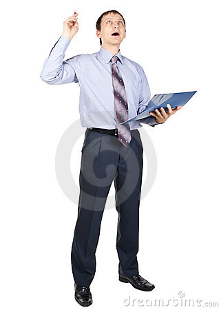 Businessman pointing up