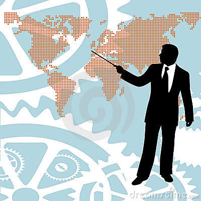 Businessman pointing world map