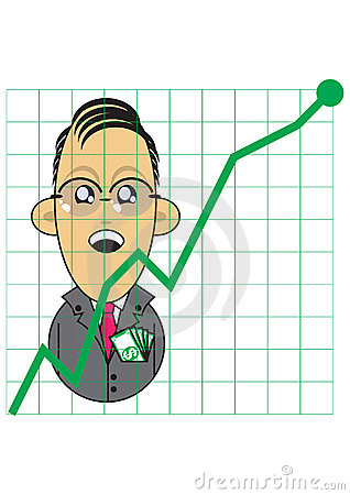 Businessman with positive growth chart