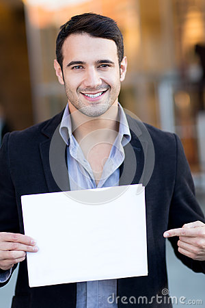 Businessman with a poster