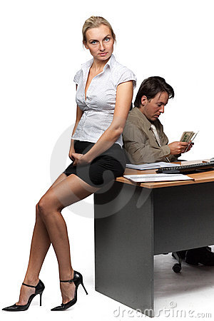 Businessman and pregnant secretary