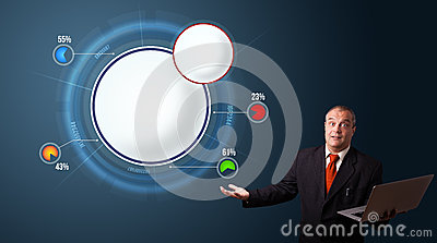 Businessman presenting abstract modern pie