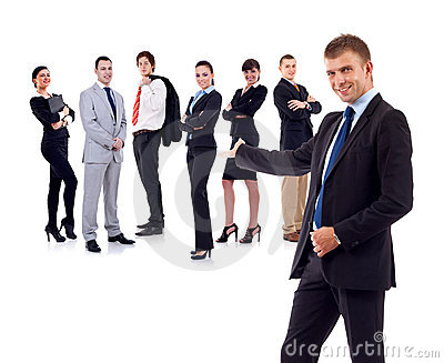 Businessman presenting his team
