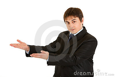Businessman presenting something on empty hands