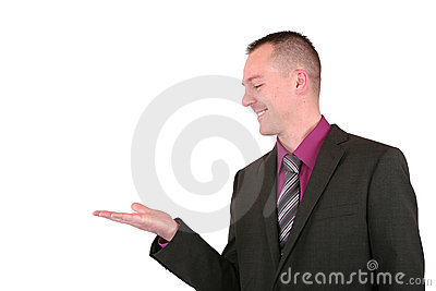 Businessman presenting something with a smile
