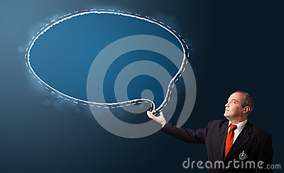 Businessman presenting speech bubble copy space