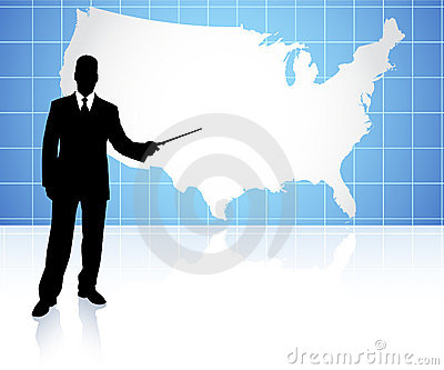 Businessman presenting United States of Amrica map