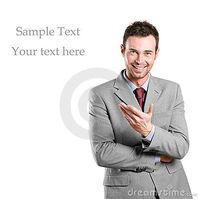 Businessman presenting your text