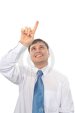 Businessman presses a finger on a virtual button