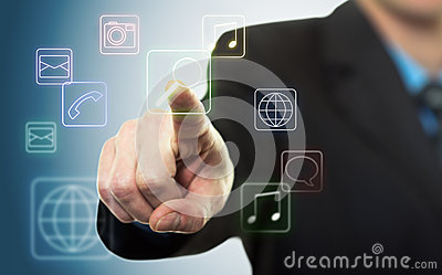 Businessman pressing application button