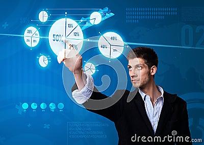 Businessman pressing pie chart button
