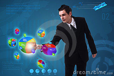 Businessman pressing pie chart button