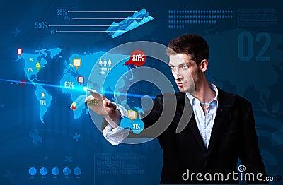 Businessman pressing social media button