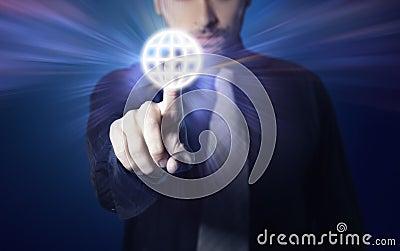 Businessman pressing touch screen button