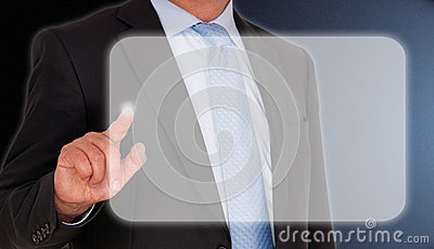 Businessman pressing touchscreen