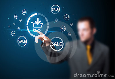 Businessman pressing virtual promotion