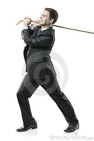 Free Businessman Pulling A Rope Stock Image - 12121061
