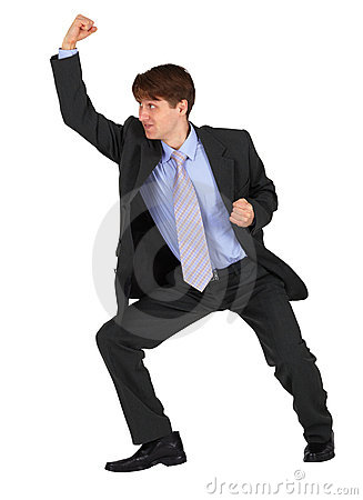 Businessman punching up on white background