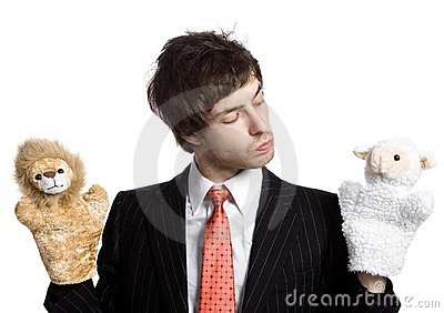 Businessman with  puppets