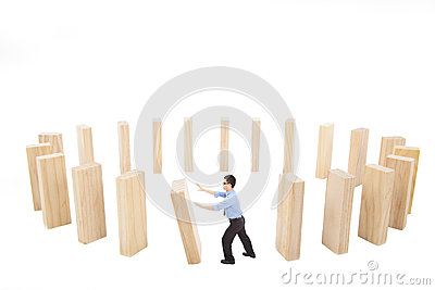 Businessman push down the wall