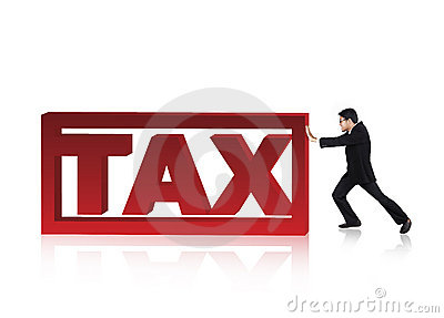 Businessman push a tax sign