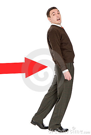 Businessman pushed with arrow