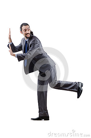 Businessman pushing away  obstacles