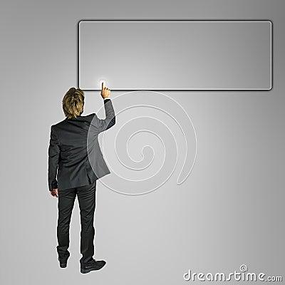 Businessman pushing empty button on virtual screen