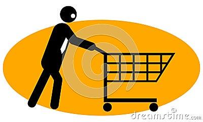 Businessman pushing trolley