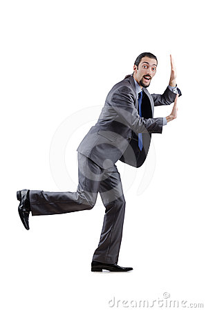 Businessman pushing  virtual obstacles