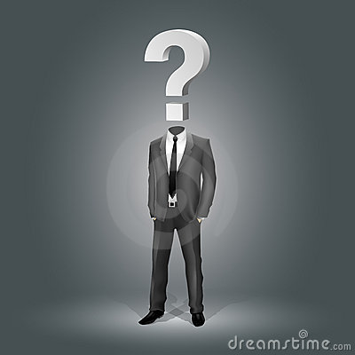 Businessman with Question Mark Head