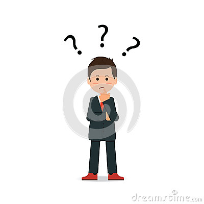 Businessman with question mark pondering problem. Vector Illustration
