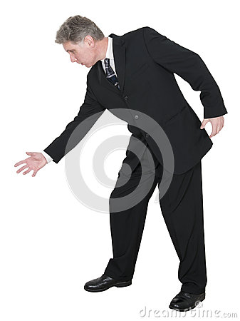 Businessman Reaching For Something, Isolated