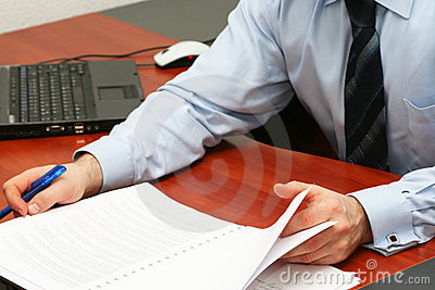 Businessman reading contract