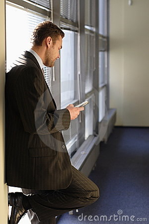 Businessman reading email