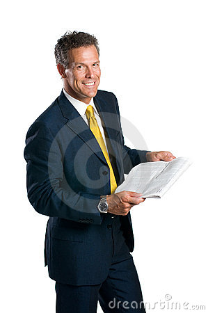 Businessman reading news